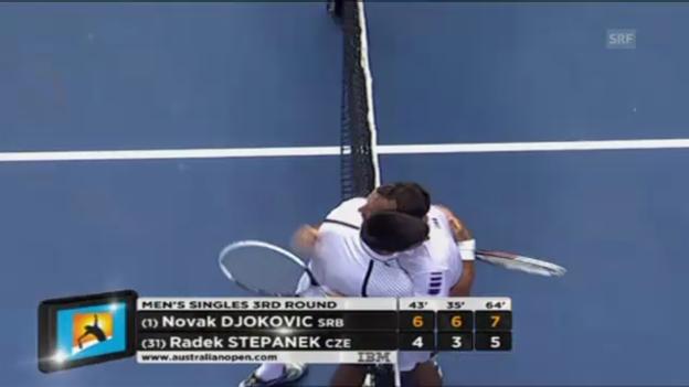 Video «Kurz-Zusammenfassung Djokovic - Stepanek (unkommentiert)» abspielen