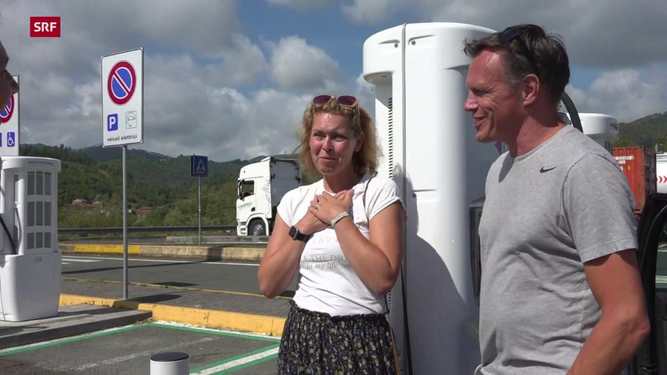 Jaspar und Astrid Evertzen, Holländische Touristen: «Wenn man irgendwo hin will, muss man danach planen, wo die Ladesäulen sind. Sonst hat man ein Problem.»