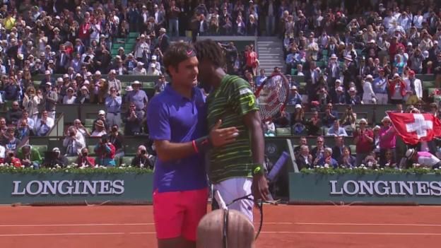 Video «Tennis: French Open, Federer-Monfils, Highlights» abspielen