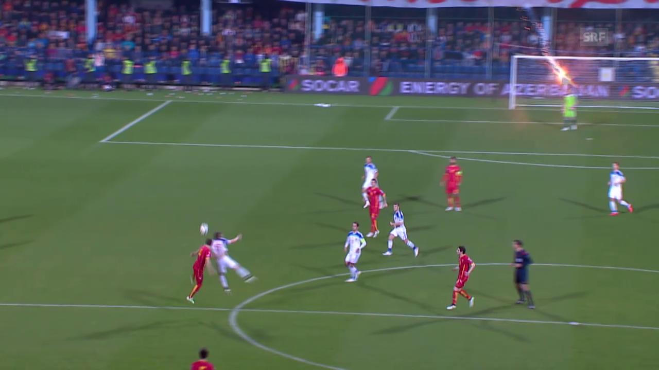 Fussball: Montenegro-Russland, Petardenwurf gegen Akinfejew