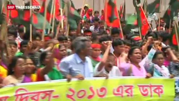 Video «Demonstrationen in Bangladesch» abspielen