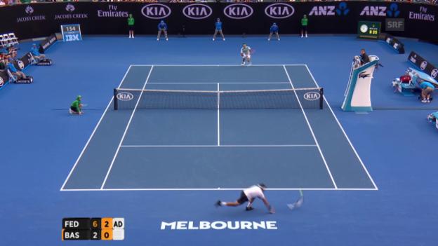Video «Federer mit fünften Break in Serie gegen Basilaschwili» abspielen
