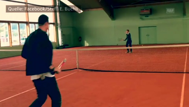 Video «Im Tennis: Diego Benaglio gewinnt gegen Steffi Buchli» abspielen