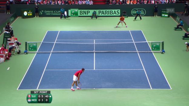 Video «Tennis: Davis Cup, SUI - NED Satz Federer» abspielen