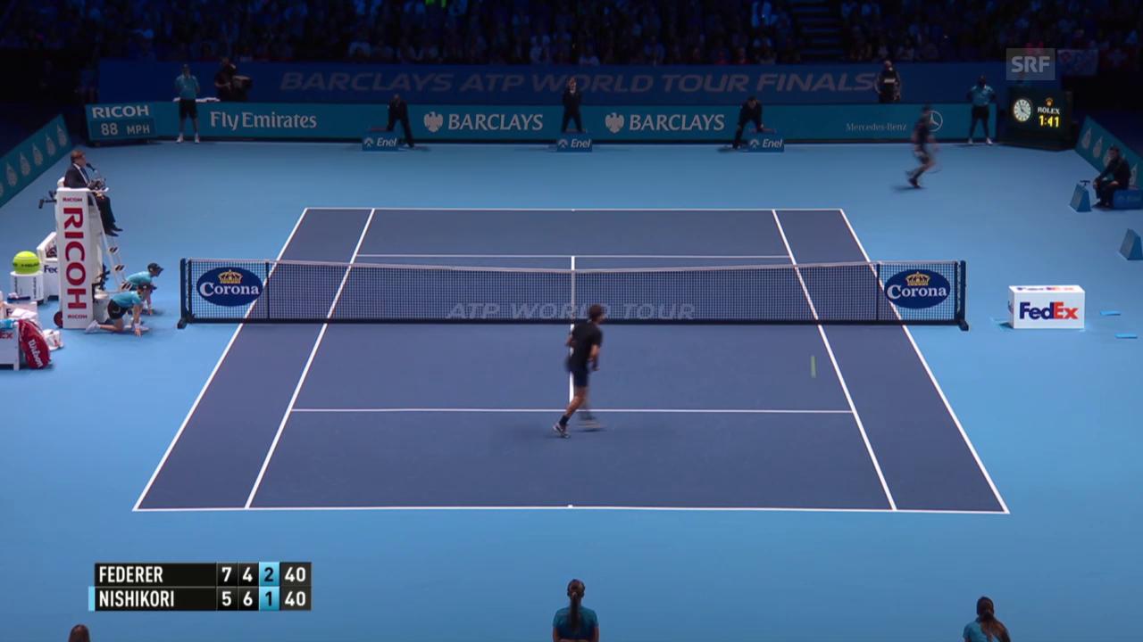 Tennis: ATP Finals 2015, Round Robin, Federer – Nishikori, Passierball Nishikori