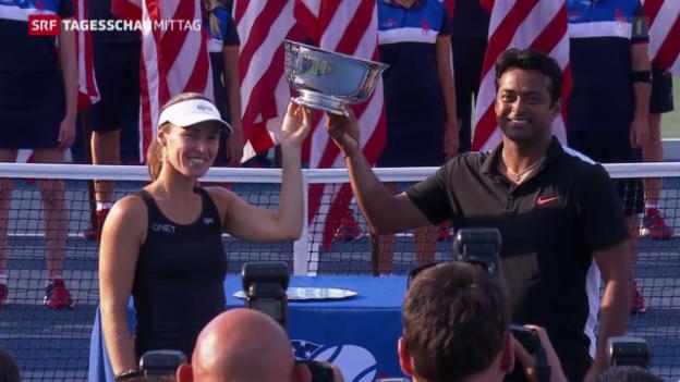 Video «Tennis: US Open, Hingis/Paes gewinnen Mixed-Konkurrenz» abspielen