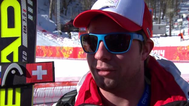 Video «Sotschi: Ski, Männer-Abfahrt, Training, Interview mit Feuz» abspielen