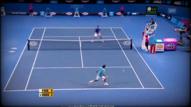 Video «Federers bisherige Duelle gegen Hanescu» abspielen