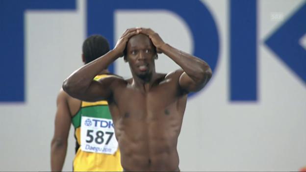 Video «Bolts Fehlstart über 100 m 2011 in Daegu» abspielen