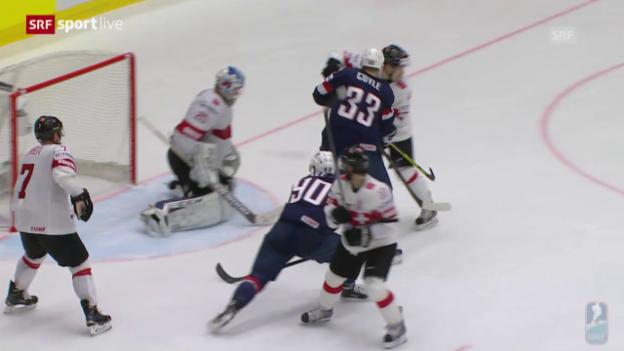 Video «Eishockey: WM-Viertelfinal USA-Schweiz, die Tore» abspielen