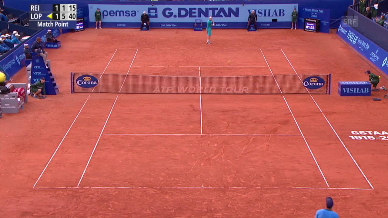 Tennis: Gstaad 2015, Lopez besiegt Reister mit Mühe