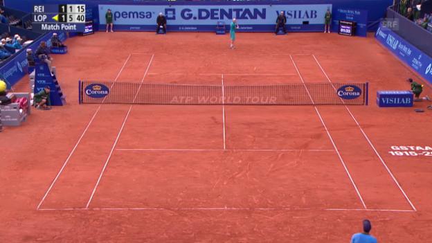 Video «Tennis: Gstaad 2015, Lopez besiegt Reister mit Mühe» abspielen