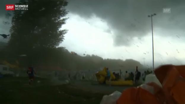 Video «Turnfest in Biel überschattet von heftigem Gewitter» abspielen