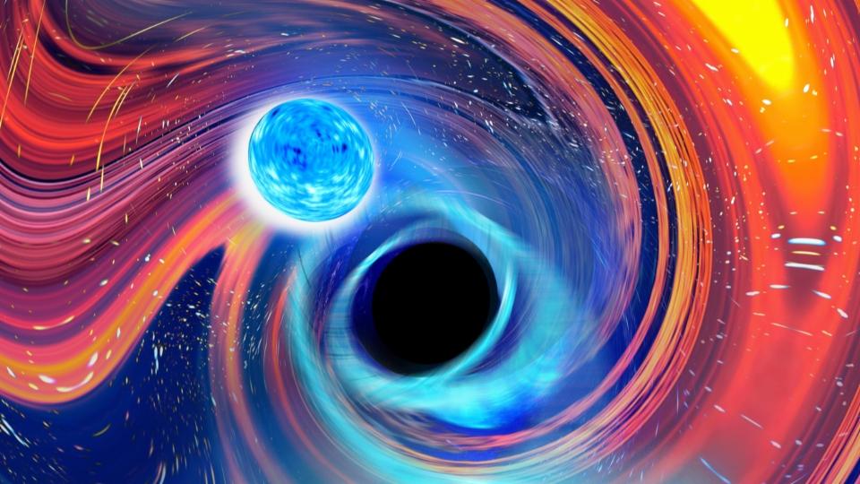 Ein Schwarzes Loch frisst einen Neutronenstern