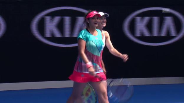 Video «Duo Hingis/Mirza erreicht trotz Satzverlust die Halbfinals von Melbourne» abspielen