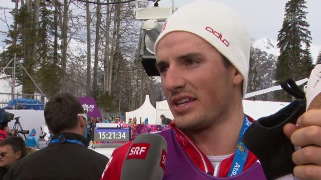 Video «Sotschi: Langlauf, Skiathlon, Interview mit Baumann» abspielen