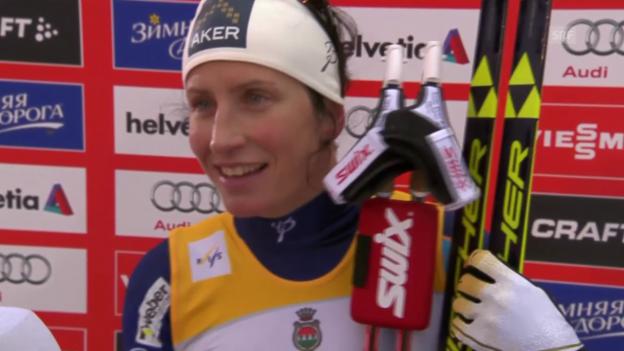 Video «Langlauf: Weltcup in Lahti, Sprint Frauen, Marit Björgen im Siegerinterview» abspielen