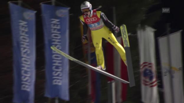 Video «Gregor Deschwandens «Hüpfer» auf 108 Meter in Bischofshofen» abspielen