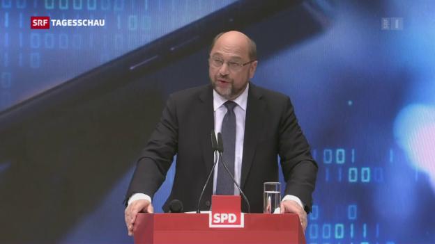 Video «SPD-Parteichef Schulz greift Merkel weiter an» abspielen