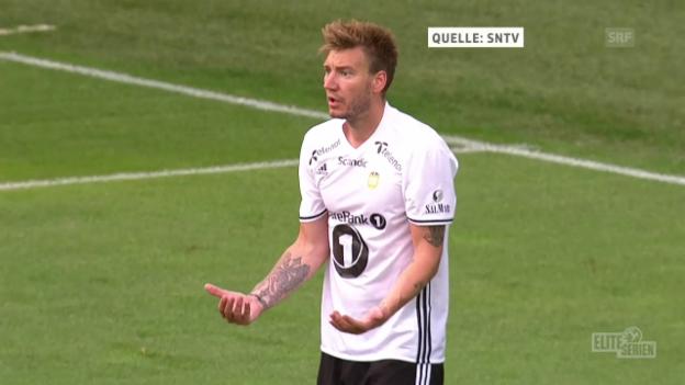 Video «Bendtner trifft und staucht dann den Mitspieler zusammen» abspielen