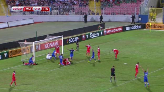 Video «Fussball: EM-Qualifikation, Gruppe H, Zusammenfassung Malta - Italien» abspielen