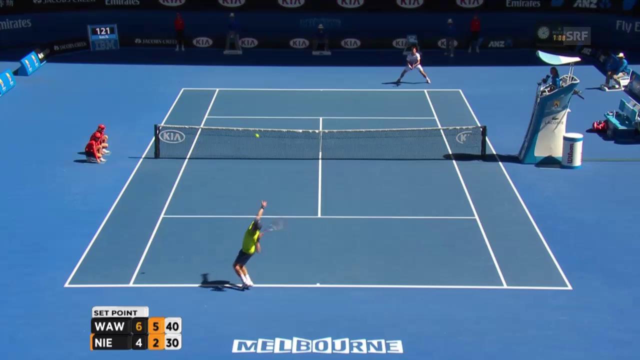 Tennis: Australian Open, Wawrinka -Nieminen, 2. Satzball Wawrinka