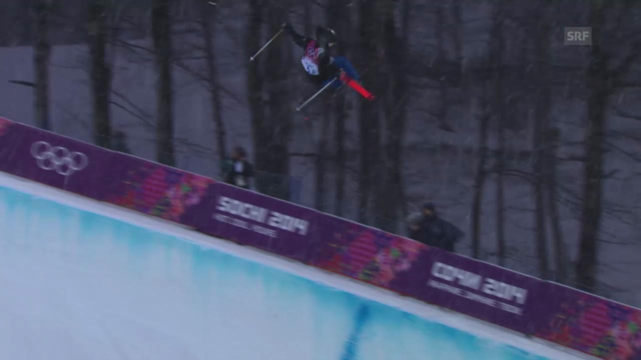 Ski Freestyle: Qualifikation Halfpipe, der 1. Run von Joel Gisler (sotschi direkt, 18.02.2014)