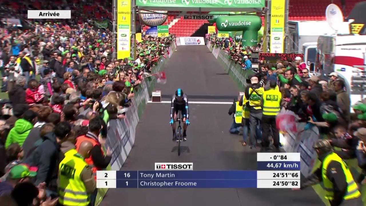 Rad: Tour de Romandie, 5. Etappe, Zieleinfahrt Chris Froome