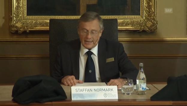 Video «Verkündung des Physik-Nobelpreises (Originalton englisch)» abspielen