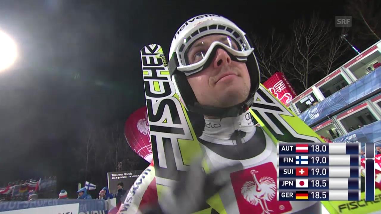 Skispringen: 2. Sprung von Simon Ammann in Bischofshofen («sportlive», 06.01.2014)
