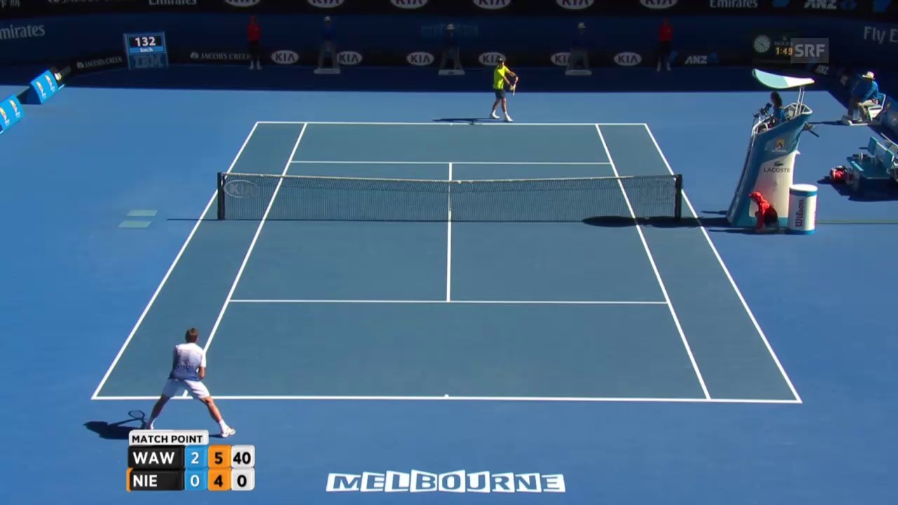 Tennis: Australian Open, Matchball bei Wawrinka-Nieminen