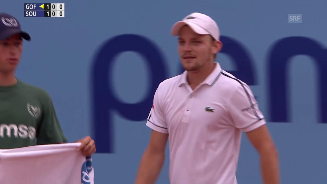 Tennis: ATP 250 Gstaad, Viertelfinal Goffin-Sousa, Satzball Goffin 2. Satz