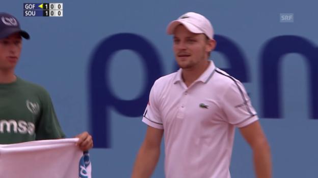 Video «Tennis: ATP 250 Gstaad, Viertelfinal Goffin-Sousa, Satzball Goffin 2. Satz» abspielen