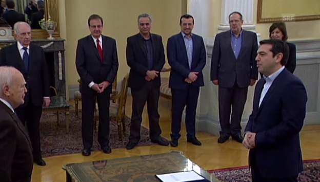 Video «Alexis Tsipras legt den Amtseid ab» abspielen