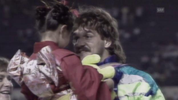 Video «Leichtathletik: WM 1991 in Tokio, Kugelstossen, Werner Günthör» abspielen