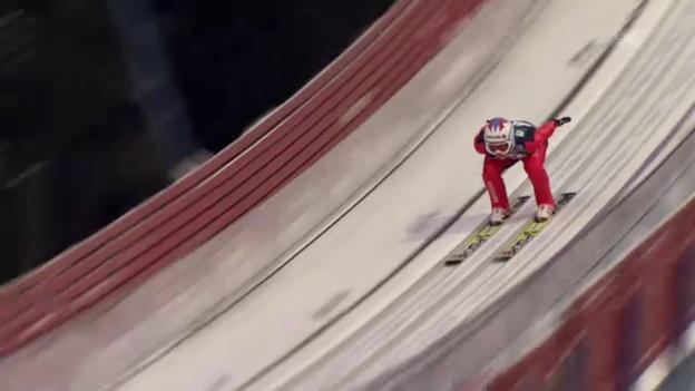 Video «Skispringen Trondheim: 1. Sprung von Simon Ammann (unkommentiert)» abspielen