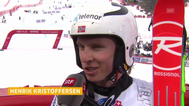 Video «Ski: Riesenslalom Männer, Méribel, Interview Kristoffersen» abspielen