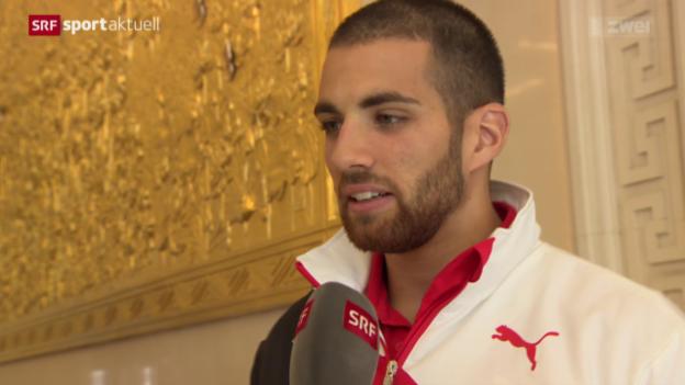Video «Leichtathletik: Kariem Hussein tritt vor die Medien» abspielen