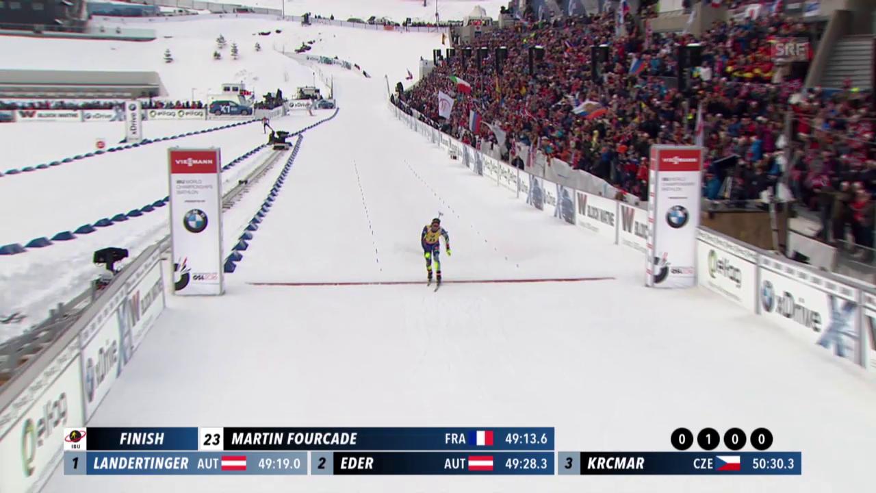 Der Zieleinlauf von Martin Fourcade im 20-km-Rennen an der WM in Oslo