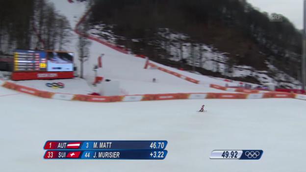 Video «Ski Alpin: Slalom der Männer, 1. Lauf von Justin Murisier (sotschi direkt, 22.2.2014)» abspielen