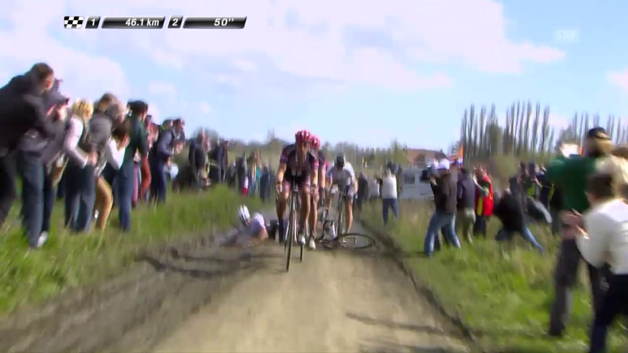 Cancellaras Sturz bei Paris-Roubaix