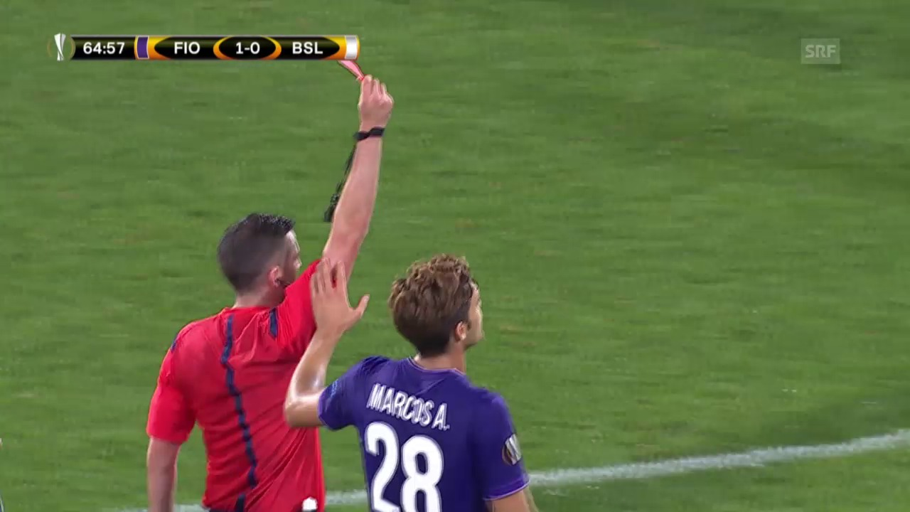 Fussball: EL, Fiorentina - Basel, Rot gegen Gonzalez