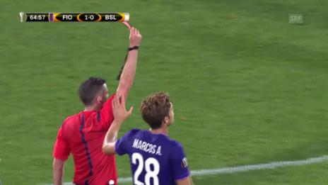 Video «Fussball: EL, Fiorentina - Basel, Rot gegen Gonzalez» abspielen