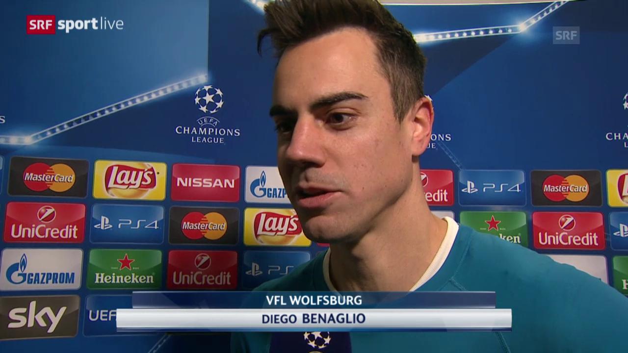 Fussball: CL 2015/16, Gruppenphase, Wolfsburg – Manchester United, Interview mit Diego Benaglio