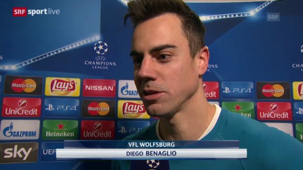 Video «Fussball: CL 2015/16, Gruppenphase, Wolfsburg – Manchester United, Interview mit Diego Benaglio» abspielen