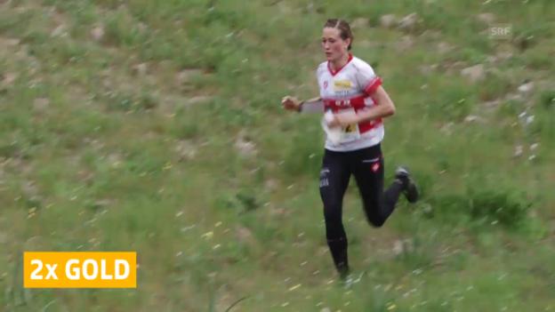 Video «OL: Wyder und Hubmann holen an der OL-EM erneut Gold» abspielen