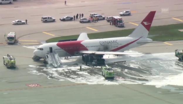 Video «Flugzeugbrand in Fort Lauderdale» abspielen