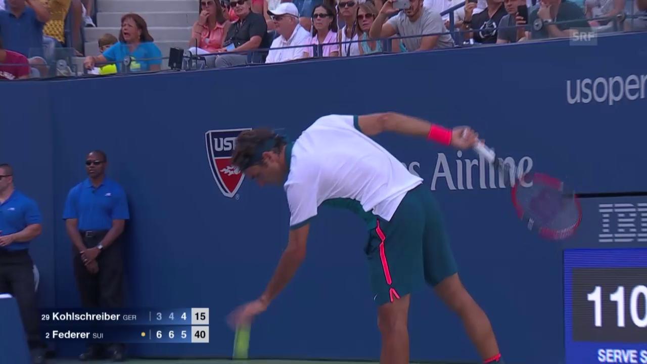 Tennis: US Open, Federer-Kohlschreiber, Matchball