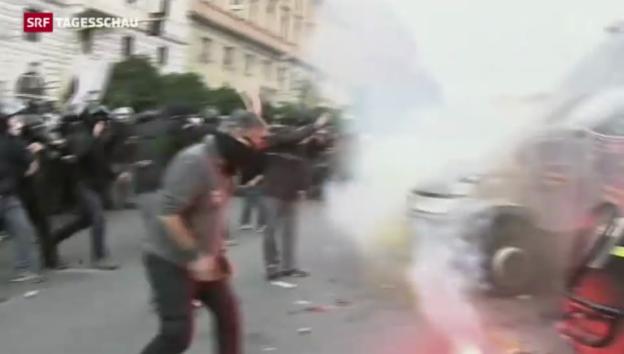 Video «Gewalt bei Protesten in Rom» abspielen