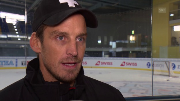 Video «Eishockey: Arosa Challenge, Interview Fischer» abspielen